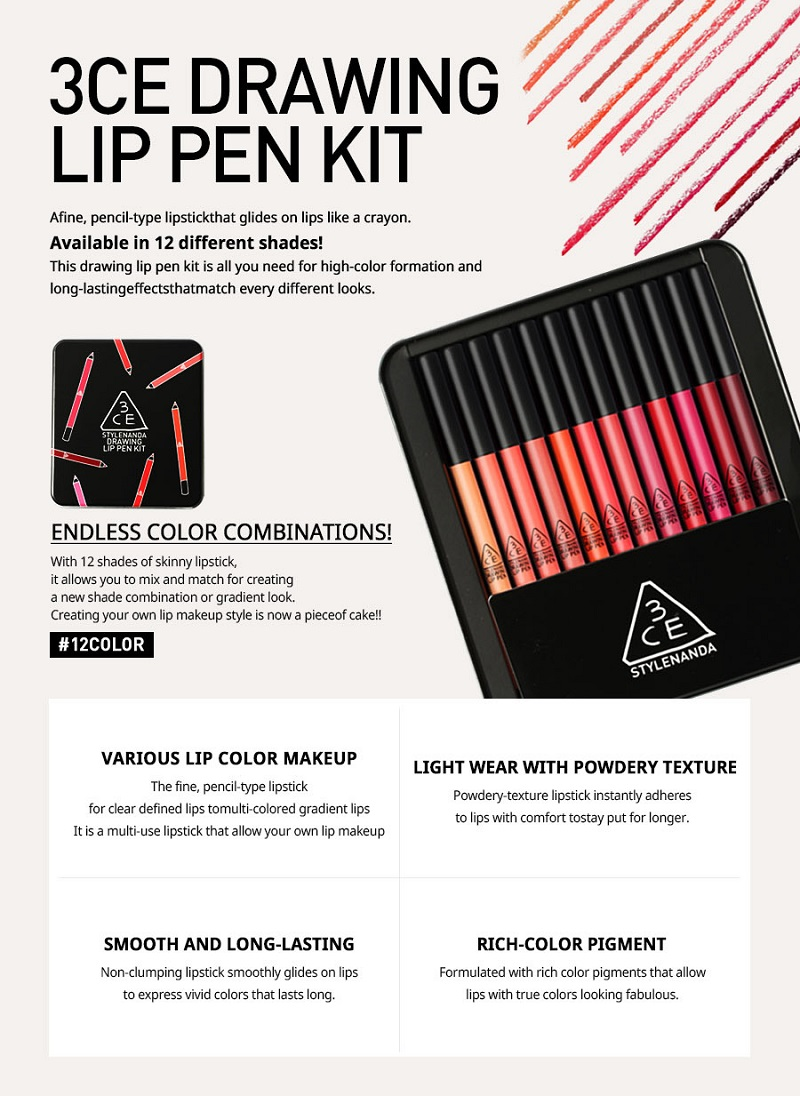3CE Stylenanda drawing lip pen kit