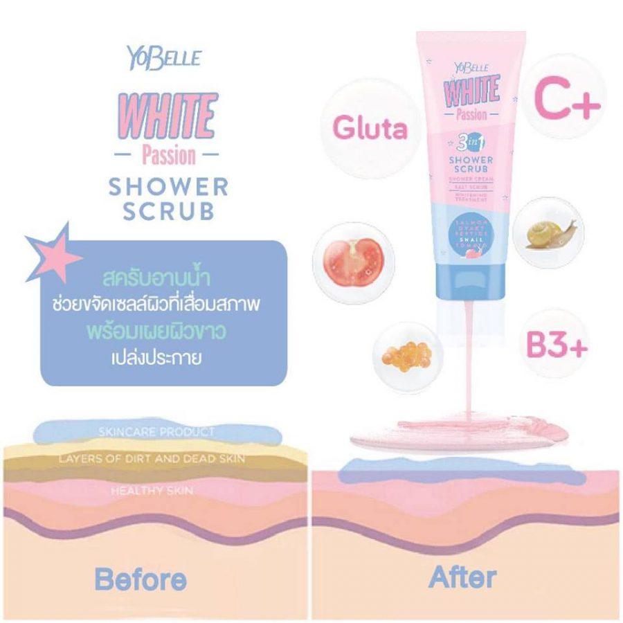 Yobelle White Passion Shower Scrub