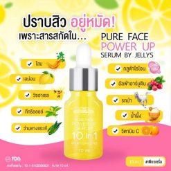 Pure Face Power Up Serum 10 in 1 by Jellys is the latest innovation from JELLYS for deep skin care up to 10 types of cells. Pure Face Power Up Serum is a highly effective rich essence with light texture that penetrates quickly into skin. It helps nourish skin deeply to the cellular level, answers all 10 facial skin problems, improves facial skin to be radiant and even, reduces wrinkles, acne, acne marks, dark spots, melasmas, and freckles, increases moisture to skin, reduces dry skin problem which causes wrinkles, smoothens skin, fights against free radicals, and helps strengthen skin.