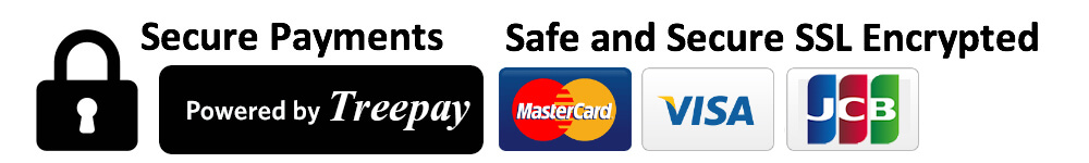 Secure Payments by Visa, Master card and JCB