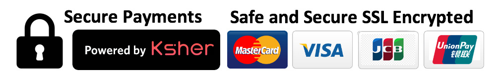 Secure Payments by Visa, MasterCard, JCB and Union Pay